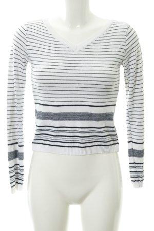 Zara Basic V-Ausschnitt-Pullover weiß-dunkelblau Streifenmuster Casual-Look