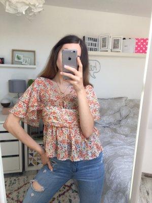 Zara Basic verspielte Blogger Blumenbluse mit Rüschen XS/34