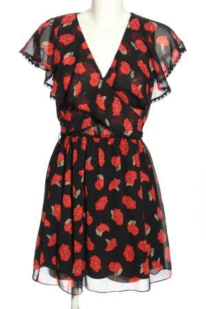 Zara Basic Flounce Dress black-red allover print casual look