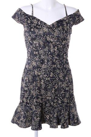 Zara Basic Vestido estilo flounce negro-blanco puro estampado floral look casual