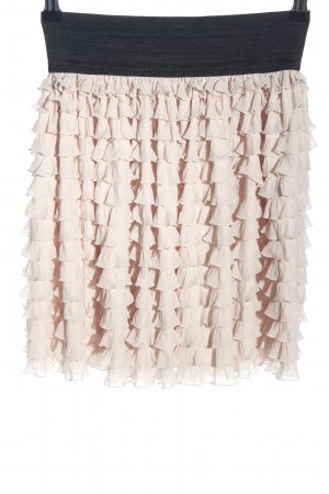 Zara Basic Flounce Skirt black-cream elegant