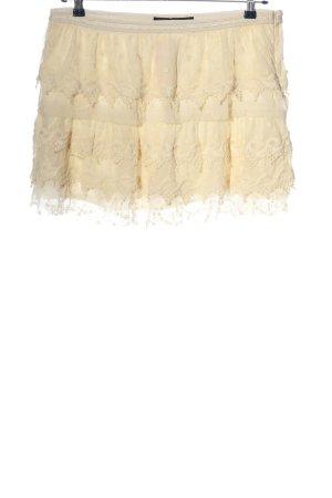 Zara Basic Spódnica z falbanami kremowy W stylu casual