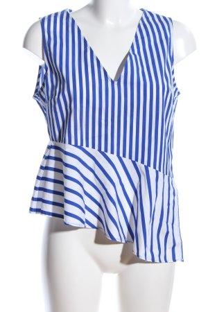 Zara Basic Volanttop blau-weiß Streifenmuster Casual-Look
