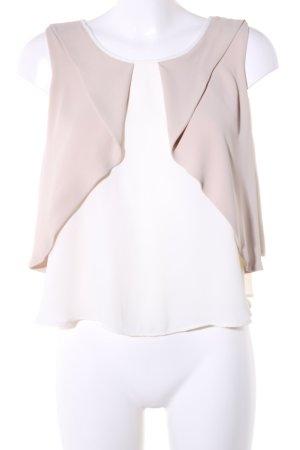 Zara Basic Top con balze bianco sporco-crema stile casual