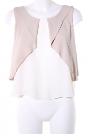 Zara Basic Flounce Top natural white-brown casual look