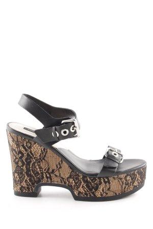 Zara Basic Wedges Sandaletten schwarz-wollweiß Blumenmuster extravaganter Stil