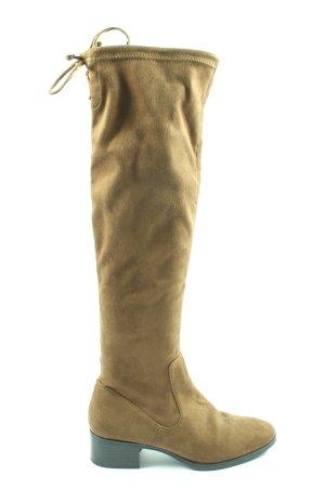 Zara Basic Botas de pantorrilla ancha marrón look casual