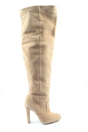 Zara Basic Weitschaftstiefel creme Casual-Look
