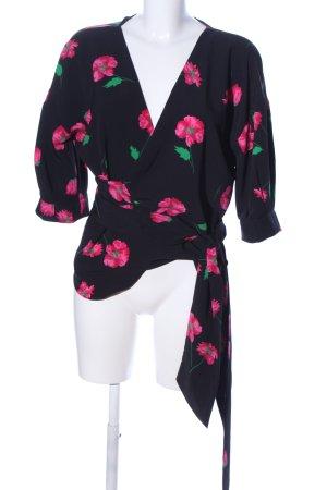 Zara Basic Wraparound Blouse allover print elegant