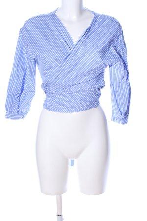 Zara Basic Wraparound Blouse blue-white striped pattern casual look