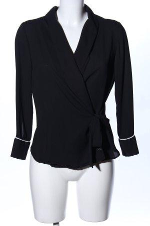 Zara Basic Wikkelblouse zwart zakelijke stijl