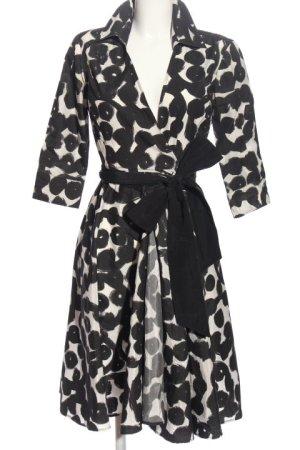 Zara Basic Kopertowa sukienka biały-czarny Wzór moro W stylu biznesowym