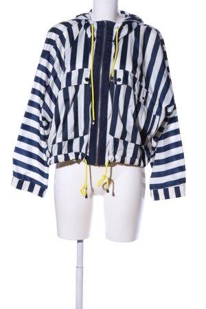 Zara Basic Coupe-vent bleu-blanc imprimé allover style décontracté
