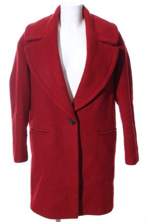 Zara Basic Wollmantel rot Casual-Look