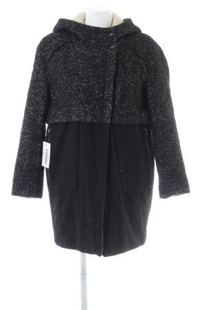 Zara Basic Wollmantel schwarz-wollweiß meliert Casual-Look