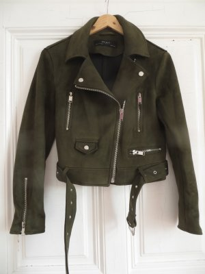 Zara Basics Herbstjacke / Biker-Jacke Wild Leder-Optik grün Gr. S 34/36