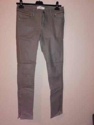 Zara Basic Pantalone di lino grigio-verde