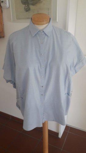 Zara Bluzka oversize błękitny-jasnoniebieski Bawełna