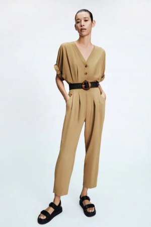 Zara begehrter Jumpsuit neu Gr. M mit Gürtel sand beige Knöpfe Ankle Sommer Influencer