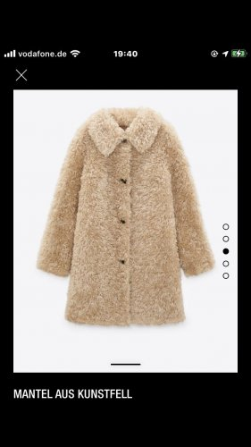Zara Abrigo de piel beige-camel