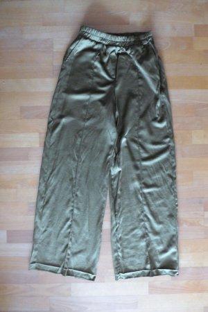 Zara Bershka Boho Satin Wide Leg Hose khaki goldgrün Gr. L 40 42