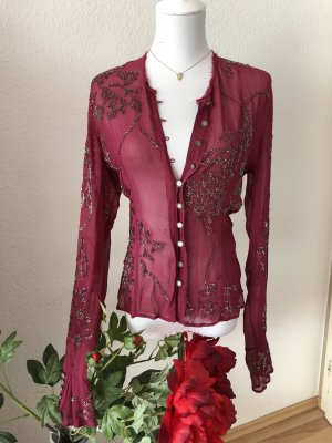 Zara bestickte Bordeaux Bluse in XS Neu Limited Edition ❤️