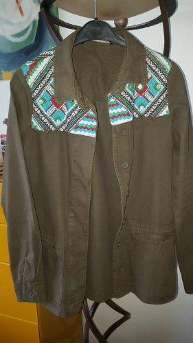 Zara Marynarka koszulowa oliwkowy-khaki Bawełna