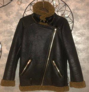 Zara Veste motard noir-taupe