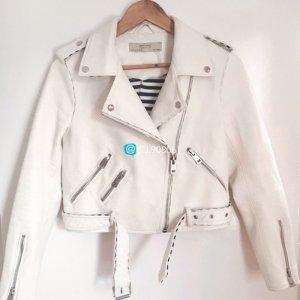 Zara Veste en cuir synthétique blanc-noir