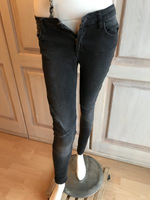 Zara Biker Jeans Slim schwarz