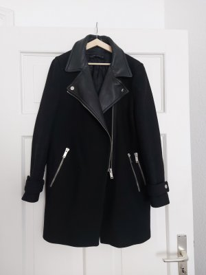Zara Biker-Mantel L wie 38 Lederrevers Zip Trend Wolle Übergang