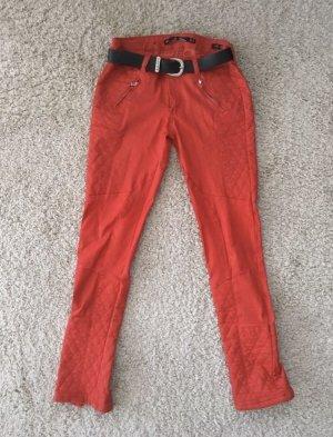 Zara Woman Pantalon en cuir rouge-rouge brique