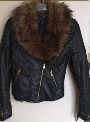 Zara Veste motard noir-brun