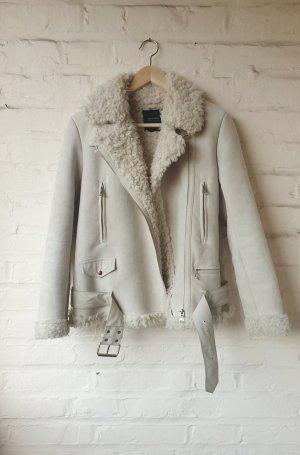 Zara Kurtka zimowa w kolorze białej wełny-kremowy
