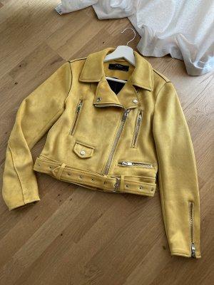 Zara Kurtka z imitacji skóry żółty-bladożółty