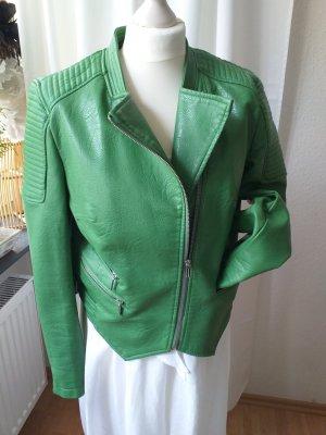 Zara Basic Faux Leather Jacket green