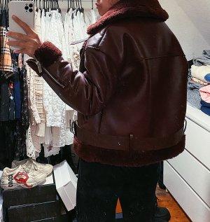 Zara Bikerjacke Lederjacke Doubleface Jacke rot burgundy burgunderrot