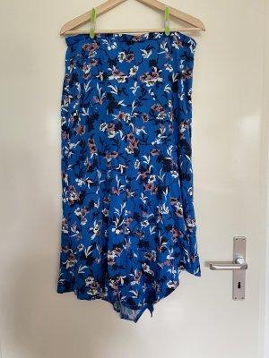 Zara Blau Blumen Midi Rock mit einem Schlitz Frühling Sommer Damengröße XL