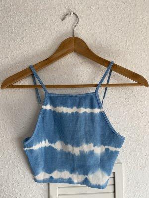 Zara Blau Crop top Batik M neu