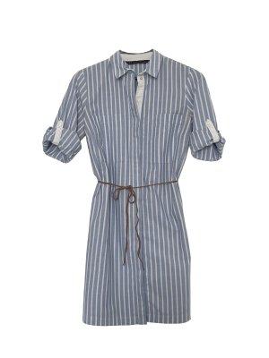 Zara Robe chemise blanc-bleu clair coton