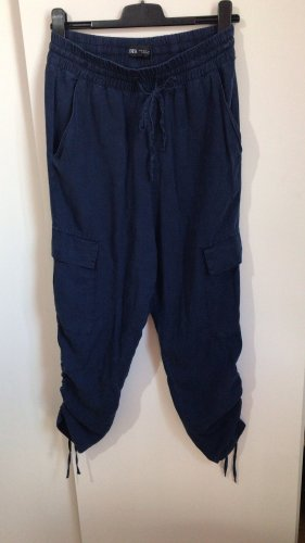Zara blaue chill Stoff Hose highwaist Bundhose S