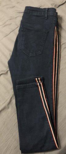 Zara blaue Hose Jeans m. Streifen rot/weiß/blau knöchellang Gr.36