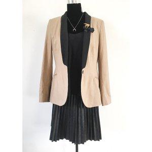 Zara Blazer beige schwarz M L 38 40 mit Revers Jacke Basic Style Minimal