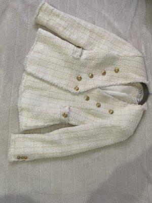 Zara Tweed Blazer white-natural white