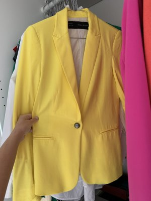 Zara Basic Blazer de esmoquin amarillo