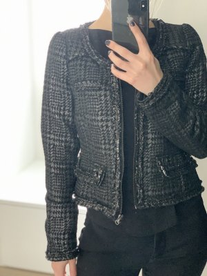 Zara Basic Tweed blazer zwart-antraciet