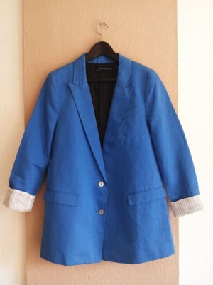 Zara Blazer in neonblau aus Baumwolle und Viskose, Größe M, neu