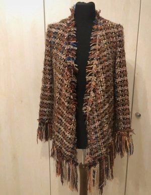 Zara blazer Jacke Blogger Fransen hahntrittmuster kartiert bunt