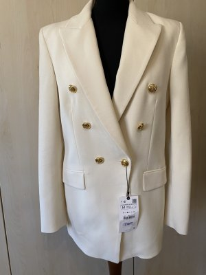 Zara Long Blazer white-natural white