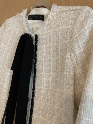 Zara Woman Tweed Blazer black-natural white